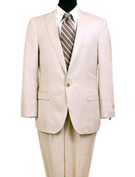 Single Button Mens Cream Slim narrow Style Fit Suit, act now only $165.00
