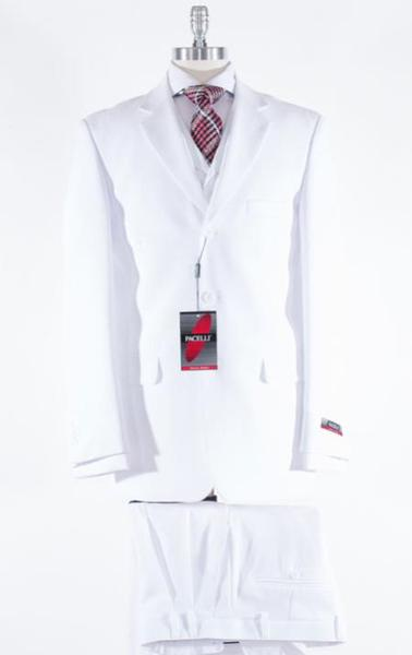 White Notch Lapel  Three Button Style Mens Suit, act now only $135.00