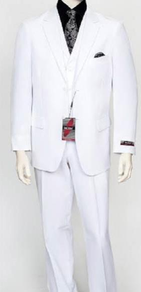 White Two Button Style Poly Poplin Mens Suit, act now only $159.00