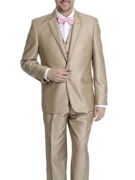 Mens One Button Style V-neck Tan khaki Color Suit, act now only $199.00
