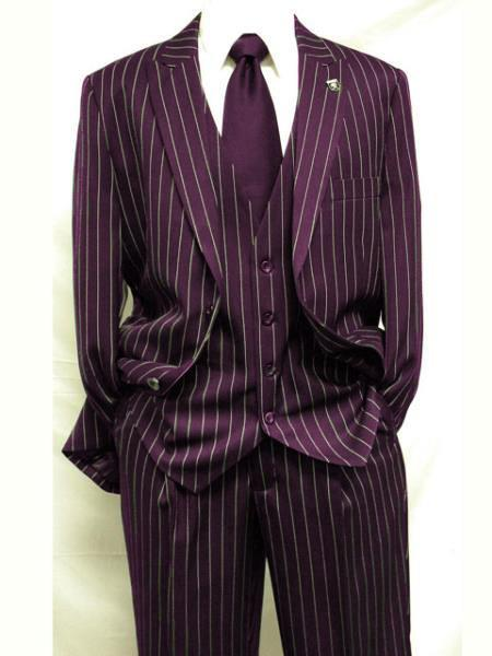 Mens Maroon White Gangster Bold PinStripe Mars Vested Three Suit, act now only $175.00