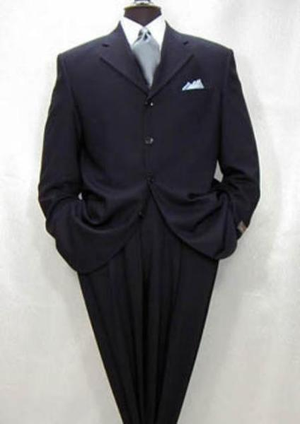 Mens Navy Blue Three Button Style Premier Quality Italian Fabric Suit, act now only $185.00