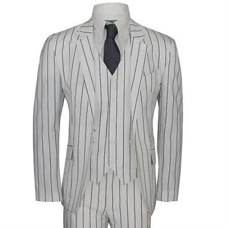 Mens Two Buttons White and Black Bold Chalk Pinstripe suit, act now only $159.00