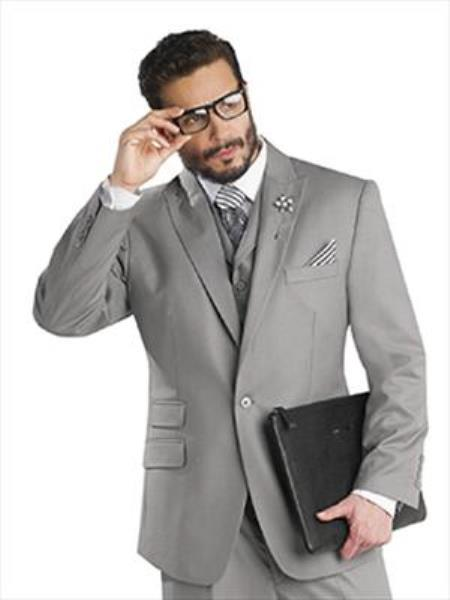 Mens  Single Button Vested Peak Lapeled Grey Suit, act now only $175.00