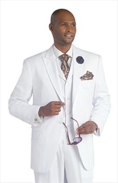 Single Button Vested Peak Lapeled Mens White Suit, act now only $175.00