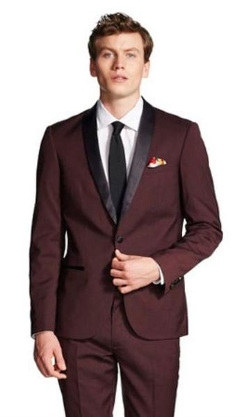 One Button Mens Burgundy Clearance Slim Fit Shawl Collar formal Tuxedo, act now only $149.00