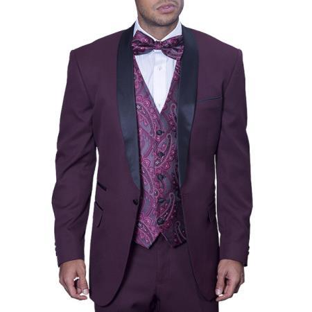 One Button Mens Burgundy Liquid Jet Tuxedo Suit, act now only $175.00