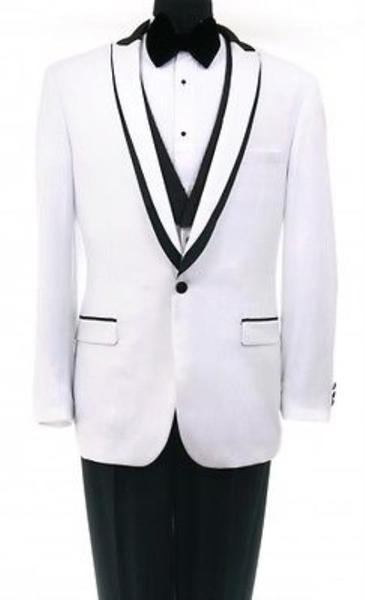 One Button Mens White Shawl collar flat front Suit, act now only $199.00