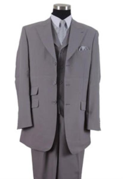 Mens Online Gray Three Button Style Peak Lapel Suit, act now only $115.00