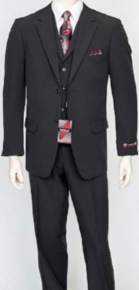 Two Button Style Poly Poplin Mens Suit  In Charcoal, act now only $159.00