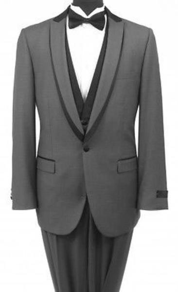 One Button Gray Shawl collar Liquid Jet Black Mens Tuxedo, act now only $199.00