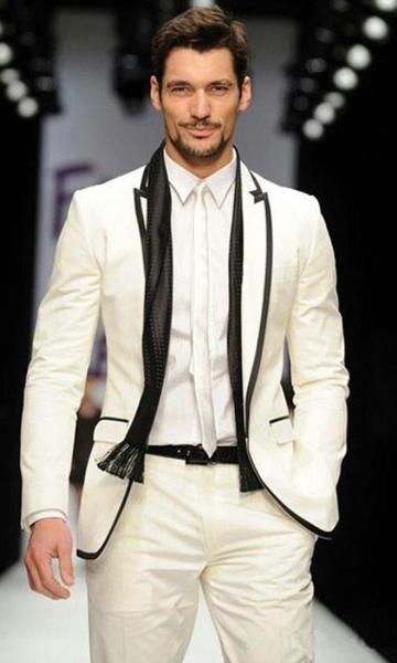 One Button Ivory White Groom Tuxedo Mens Suit, act now only $595.00
