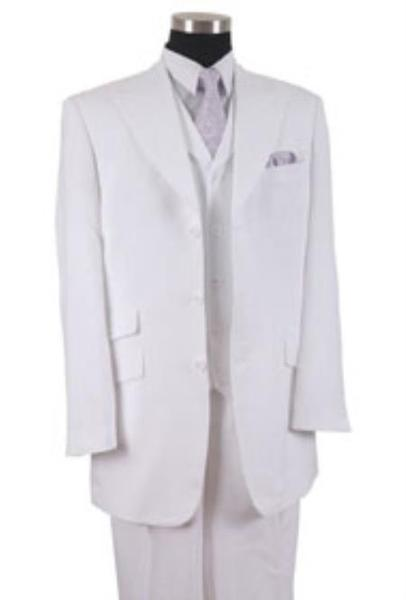 Mens Three Button Style Peak Lapel White Suit, act now only $115.00