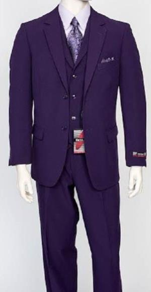 Two Button Style Purple Notch Lapel Mens Poplin Suit, act now only $159.00