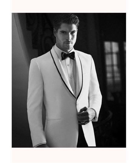 White One Button Shawl Collar with Liquid Jet Mens Suit, act now only $299.00