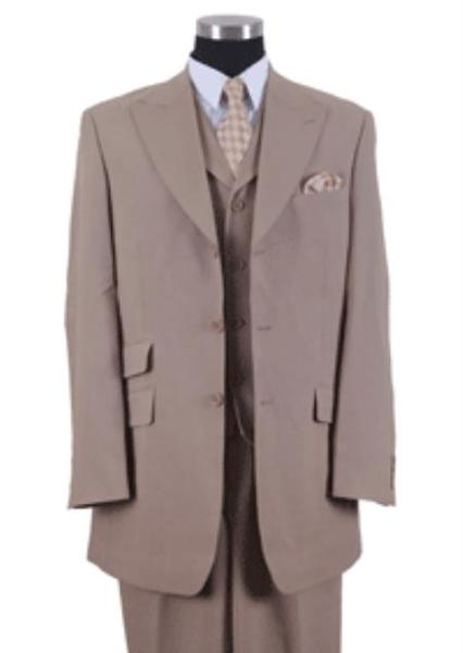 Tan Khaki Beige Three Button Style Suit For Mens, act now only $115.00