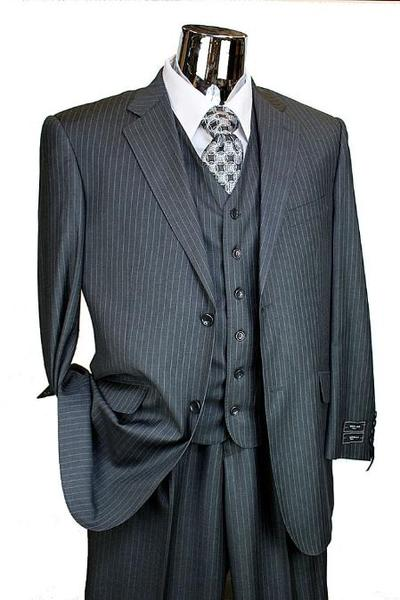 Two Button Style Dark Gray Masculine Pinstripe  Mens Suit, act now only $199.00