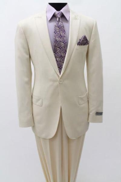 One Button Ivory Light Weight Peak Lapel Men's Suit, act now only $139.00