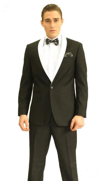 One Button Black Mens Black Shawl Tuxedo Suit, act now only $139.00