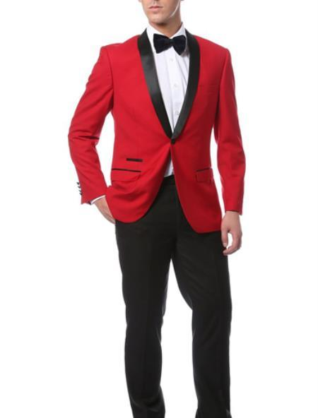 One Button Red with Black narrow Style Slim Fit Suit, act now only $189.00
