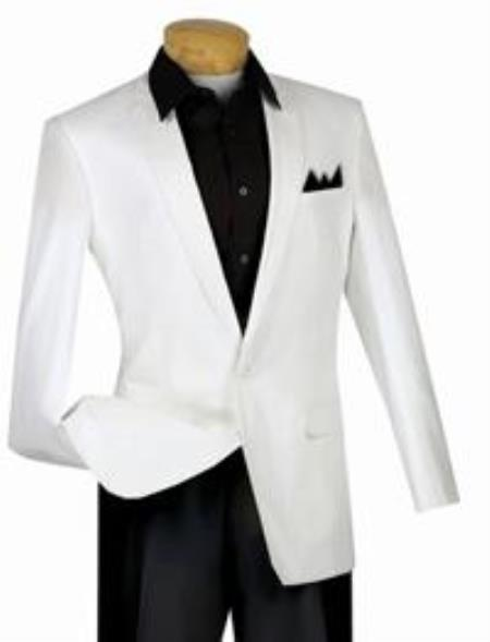 One Button Mens White narrow Style Slim Fit Suit, act now only $139.00