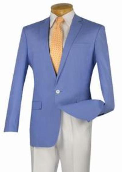 One Button Mens Blue narrow Style Slim Fit Suit, act now only $139.00