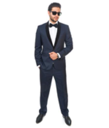 One Button Mens Navy Blue Shawl Velvet Lapel Suit, act now only $299.00