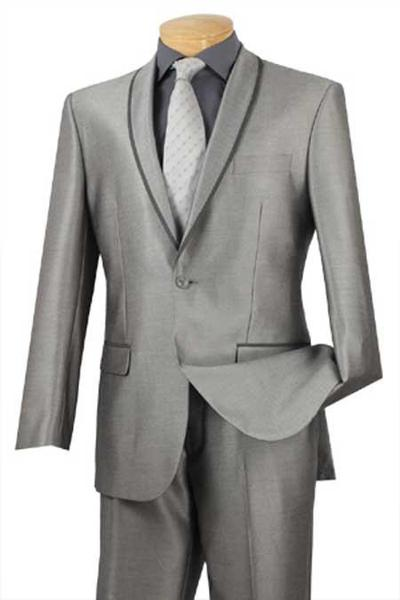 Grey One Button Mens Formal Slim narrow Style Fit Suit, act now only $139.00
