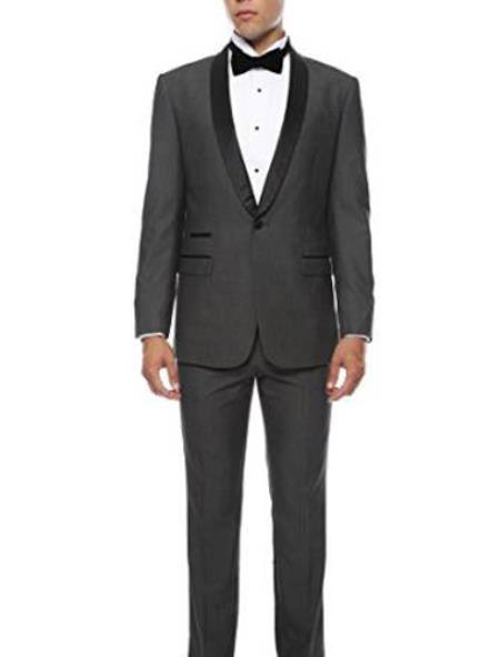 One Button Liquid Jet Black Slim narrow Style Fit Mens Suit, act now only $139.00