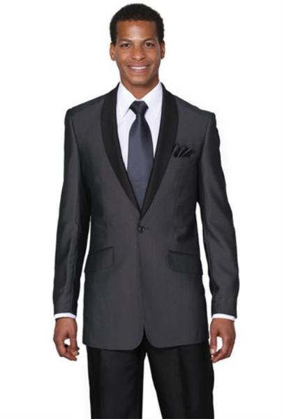 Mens Midnight Blue Shawl Collar One Button Slim Fit Suit, act now only $135.00