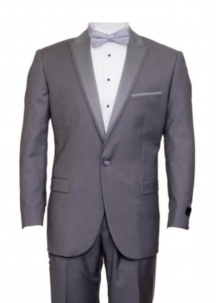 One Button Mens Mid Gray Peak Lapel Flat Front Pants Suit, act now only $165.00