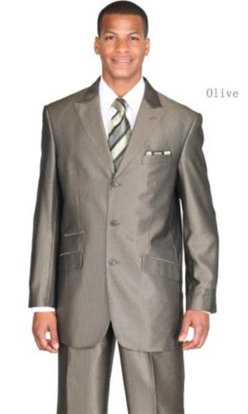 Three Button Style Peak Lapel Olive Navy Mens Suit (CHECK COLOR), act now only $115.00