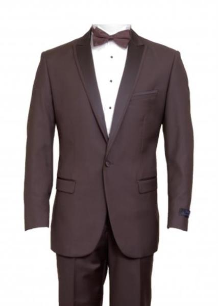 One Button Mens Brown Peak Lapel Flat Front Pants Suit, act now only $165.00