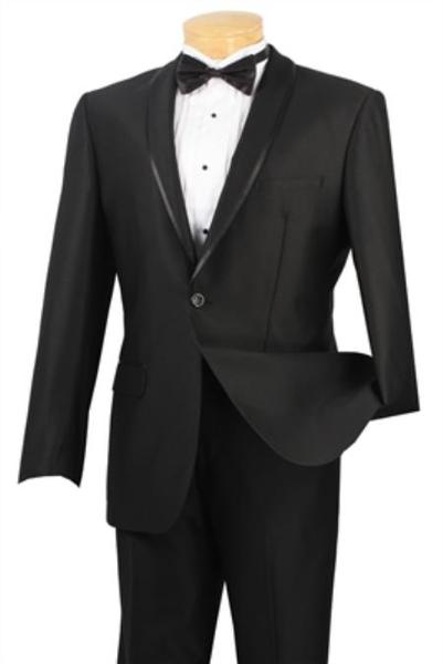 Liquid Jet Black One Button single breast Slim Fit  Suit, act now only $139.00
