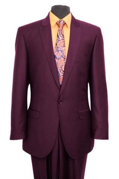 One Button Plum Peak Lapel Slim Fit Mens Suit, act now only $165.00