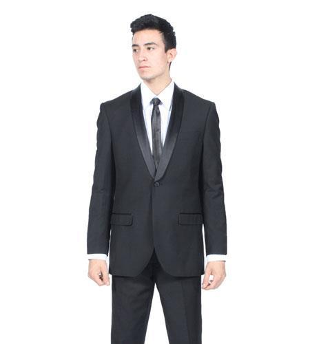 One Button Mens Liquid Jet Black Slim Fit Suit, act now only $175.00