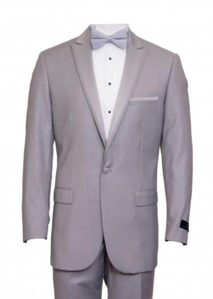 Mens Light Gray One Button Peak Lapel Slim Fit Suit, act now only $165.00