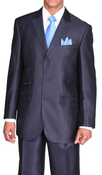 Mens Peak Lapel Three Button Style Navy Suit, act now only $115.00