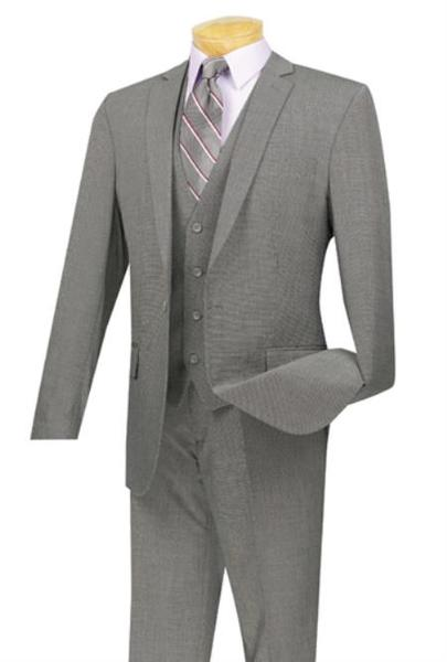 Gray One Button Slim Fit Mens  Three Piece Suit, act now only $175.00