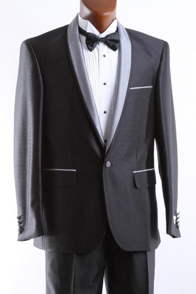 One Button Mens Black Slim narrow Style Fit Tuxedo Suit, act now only $165.00