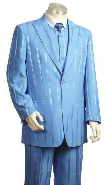 Mens One Button Sky Light Blue Long length Zoot Suit, act now only $170.00