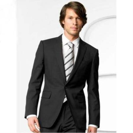 One Button Mens Double Vented Liquid Jet Black Suit, act now only $149.00