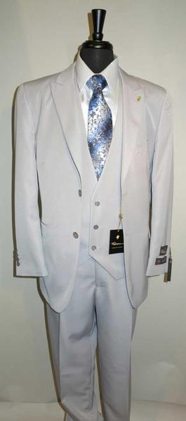 Mens Two Button Silver Grey Peaked Lapel  Vested Suit, act now only $145.00