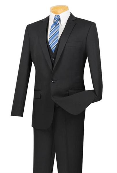 One Button Black Three Piece Slim Fit Suit For Mens, act now only $175.00