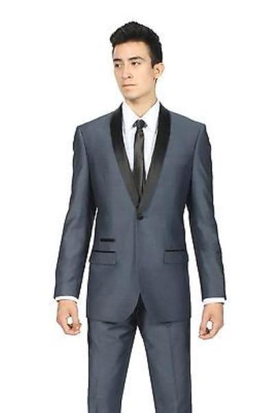 Single Button Mens Midnight Navy Blue Slim Suit, act now only $175.00