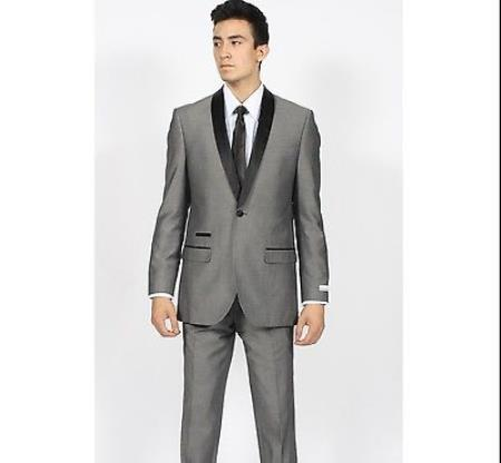 Single Button Mens Grey Shawl Collar Slim narrow Style Suit, act now only $150.00