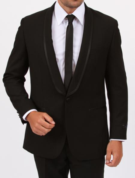 Mens Black One Button Single Shawl collar Slim Suit, act now only $175.00