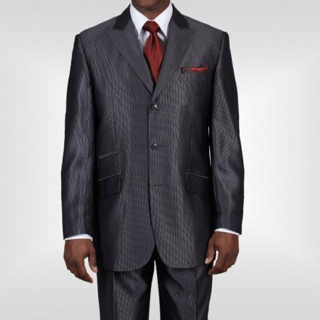 Dark Gray Three Button Style Sharkskin  Mens Suit, act now only $115.00
