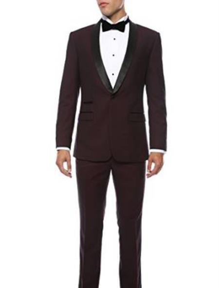 One Button Liquid Jet Black Slim Fit Suit For Mens, act now only $139.00