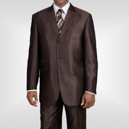 Mens Three Button Style  Brown Peak Lapel Suit, act now only $135.00